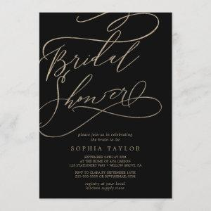 Romantic Gold Calligraphy | Black Bridal Shower Invitation starting at 2.51