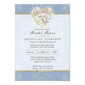 Romantic Heart Lace Dusty Blue Pink Bridal Shower Invitation starting at 2.66