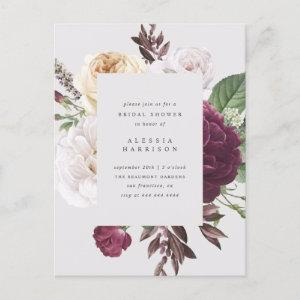 Romantic Peonies & Roses Bouquet Bridal Shower Invitation Postcard starting at 1.70