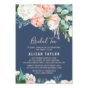 Romantic Peony Flowers | Blue Bridal Tea Invitation starting at 2.26
