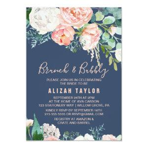Romantic Peony Flowers | Blue Brunch & Bubbly Invitation starting at 2.26