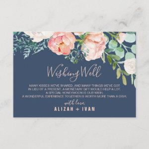 Romantic Peony Flowers   Blue Wedding Wishing Well Enclosure Card starting at 1.91