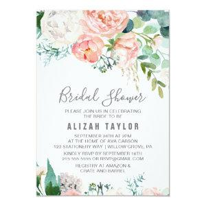 Romantic Peony Flowers Bridal Shower Invitation starting at 2.26