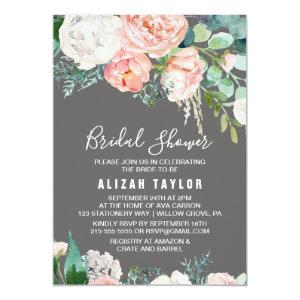 Romantic Peony Flowers | Gray Bridal Shower Invitation starting at 2.51
