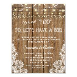 Romantic Rustic Lace String Lights I DO BBQ Invitation starting at 2.20