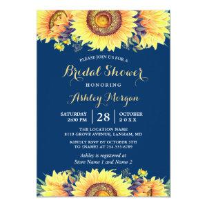 Romantic Sunflowers Rustic Navy Blue Bridal Shower Invitation starting at 2.10