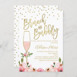 Rose Floral Brunch Bubbly Bridal Shower Invitation starting at 2.10