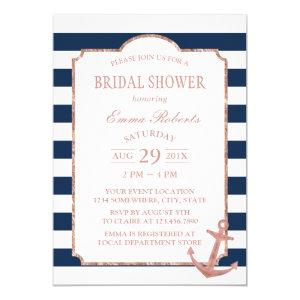 Rose Gold Anchor Nautical Stripes Bridal Shower Invitation starting at 2.45