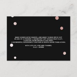 Rose Gold and Black   Glam Wedding Wishing Well Enclosure Card starting at 1.91