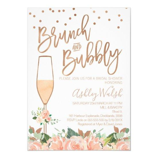 Rose Gold Brunch Bubbly Bridal Shower Invitation