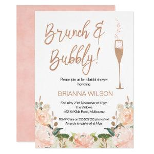 Rose Gold Brunch Bubbly Bridal Shower Invitation starting at 2.15