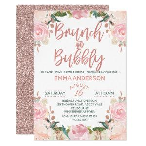 Rose Gold Brunch Bubbly Floral Bridal Invitation starting at 2.40