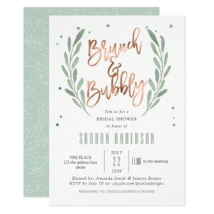 Rose Gold, Brunch & Bubbly, Greenery Bridal Shower Invitation starting at 2.65