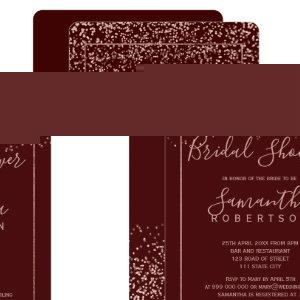 Rose gold confetti burgundy script bridal shower invitation starting at 2.35