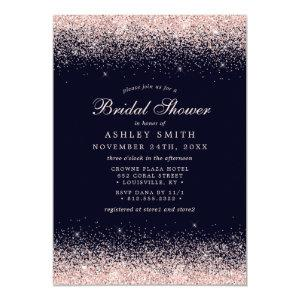 Rose Gold Confetti Navy Blue Modern Bridal Shower Invitation starting at 2.55
