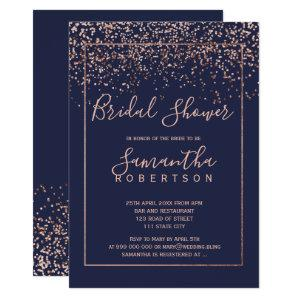 Rose gold confetti navy blue script bridal shower invitation starting at 2.40