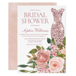 Rose Gold Dress & Blush Pink Flowers Bridal Shower Invitation starting at 2.15