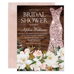 Rose Gold Dress Blush White Rustic Bridal Shower Invitation starting at 2.15