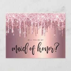 Rose gold drips will you be my maid of honor invitation postcard starting at 1.80