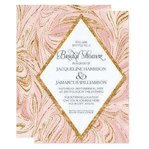 Rose Gold Faux Glitter Marble Blush Bridal Shower Invitation starting at 2.66