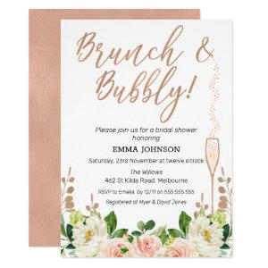 Rose Gold Floral Brunch Bridal Shower Invitation starting at 2.10