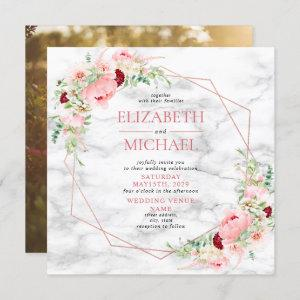 Rose Gold Geometric Marble Floral Square Wedding Invitation starting at 2.30