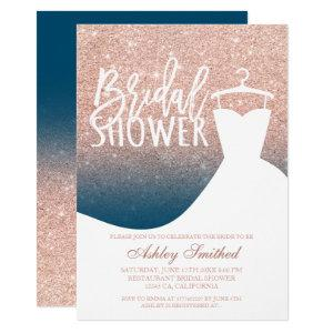 Rose gold glitter blue chic dress Bridal shower Invitation starting at 2.40