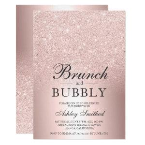 Rose gold glitter brunch bubbly bridal shower invitation starting at 2.40