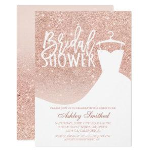 Rose gold glitter elegant chic dress Bridal shower Invitation starting at 2.15