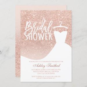 Rose gold glitter elegant chic dress Bridal shower Invitation starting at 2.40