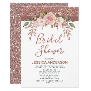 Rose Gold Glitter Floral Bridal Shower Invitation starting at 2.55