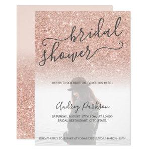 Rose gold glitter pink bold bridal shower photo invitation starting at 2.40