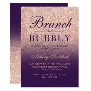Rose gold glitter purple brunch bubbly bridal invitation starting at 2.40