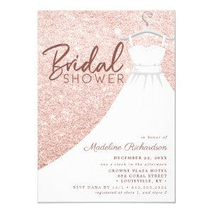 Rose Gold Glitter Wedding Dress Chic Bridal Shower Invitation starting at 2.55