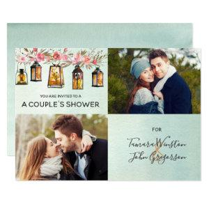 Rose Gold Lantern Floral Watercolor Couples Shower Invitation starting at 2.51