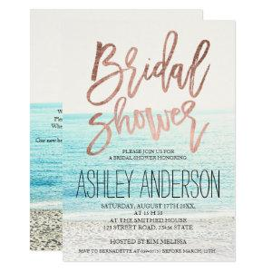 Rose gold typography beach photo bridal shower 2 invitation starting at 2.40