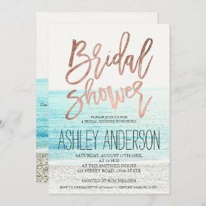 Rose gold typography beach photo bridal shower 2 starting at 2.40