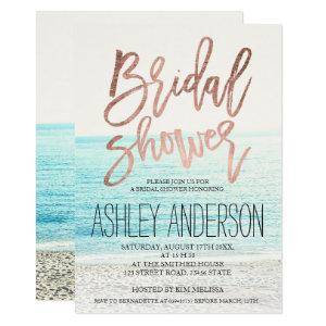 Rose gold typography beach photo bridal shower invitation starting at 2.40