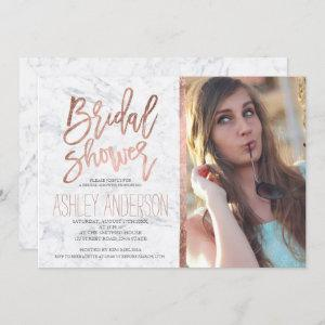 Rose gold typography marble photo bridal shower invitation starting at 2.40