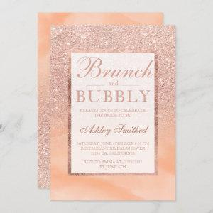 Rose gold watercolor brunch bubbly bridal shower invitation starting at 2.40