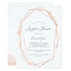 Rose Gold Watercolor Geometric Lingerie Shower Invitation starting at 2.51
