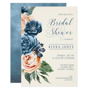 Roses Blue/Peach Wedding Bridal Shower ID584 Invitation starting at 2.21