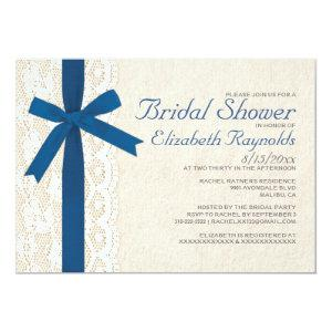 Royal Blue Bow & Lace Bridal Shower Invitations starting at 2.66