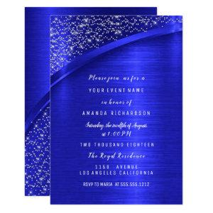 Royal Blue Glitter Bridal Shower Birthday Invitation starting at 1.95