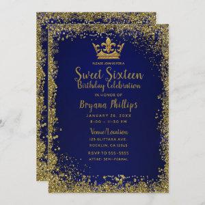 Royal Blue & Gold Glitter Crown Sweet 16 Party Invitation starting at 2.66
