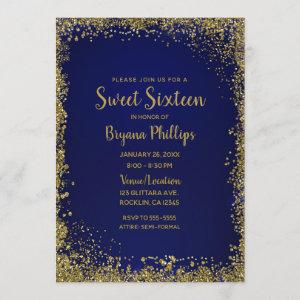 Royal Blue & Gold Glitter Glam Sweet 16 Party Invitation starting at 2.61