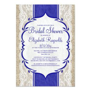 Royal Blue Linen Burlap Lace Bridal Shower Invites starting at 2.66