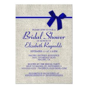 Royal Blue Rustic Burlap Bridal Shower Invitations starting at 2.66