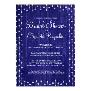 Royal Blue Rustic Country Bridal Shower Invitation starting at 2.66
