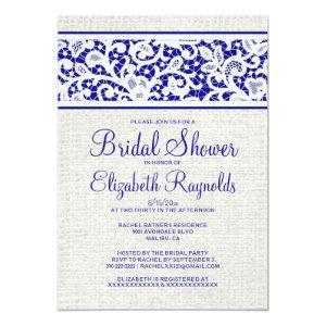Royal Blue Rustic Linen Bridal Shower Invitations starting at 2.66